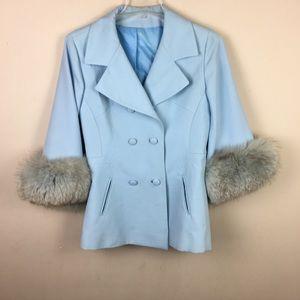 Vintage double breasted cape blazer fur jacket